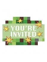 TNT Party Pixel Minecraft Postcard Invitations 8pk