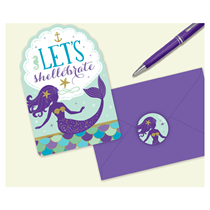 Mermaid Party Postcard Invitations & Envelopes 8pk