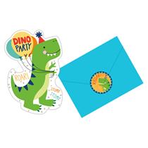 Dinosaur Shaped Party Invitations & Stickers 8pk