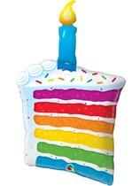 "Rainbow Birthday Cake Slice 42"" Supershape Foil Balloon"