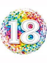 "18th Birthday Rainbow Confetti 18"" Foil Balloon"