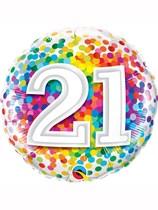 "21st Birthday Rainbow Confetti 18"" Foil Balloon"