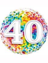 "40th Birthday Rainbow Confetti 18"" Foil Balloon"
