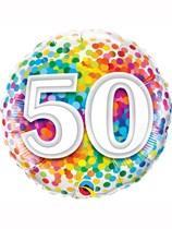 "50th Birthday Rainbow Confetti 18"" Foil Balloon"
