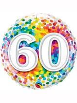 "60th Birthday Rainbow Confetti 18"" Foil Balloon"
