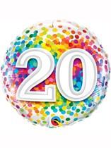 "20th Birthday Rainbow Confetti 18"" Foil Balloon"