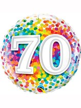 "70th Birthday Rainbow Confetti 18"" Foil Balloon"