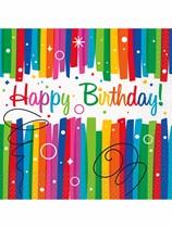 Rainbow Ribbons Happy Birthday Luncheon Napkins 16pk