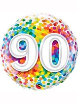 "90th Birthday Rainbow Confetti 18"" Foil Balloon"