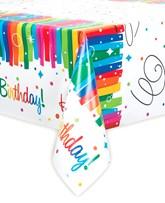 Rainbow Ribbons Happy Birthday Plastic Tablecover
