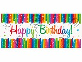 Rainbow Ribbons Happy Birthday Giant Banner