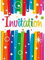Rainbow Ribbons Party Invitations & Envelopes 8pk