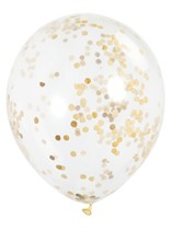 """Clear 12"""" Latex Balloons With Gold Confetti 6pk"""