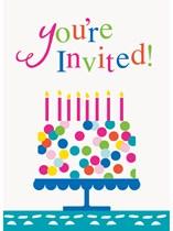 Confetti Cake Invitations and Envelopes 8pk