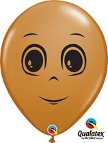 "Mocha Brown 16"" Masculine Face Latex Balloons 50pk"