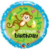 "18"" Two-sided Monkey Birthday Foil Balloon"