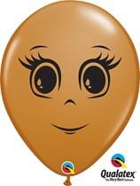 "Mocha Brown 16"" Feminine Face Latex Balloons 50pk"