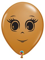 "Mocha Brown Feminine Face 5"" Latex Balloons 100pk"