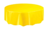 """Yellow Round Plastic Tablecover 84"""""""