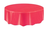 """Red Round Plastic Tablecover 84"""""""