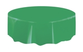 """Emerald Green Round Plastic Tablecover 84"""""""