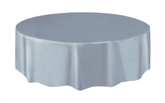 """Silver Round Plastic Tablecover 84"""""""