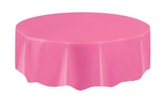 """Pink Round Plastic Tablecover 84"""""""
