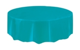 """Teal Round Plastic Tablecover 84"""""""