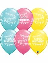 "Happy Birthday Bunting & Dots 11"" Latex Balloons 25pk"