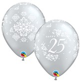 "25th Anniversary 11"" Silver Latex 6pk"
