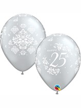 "Silver 25th Anniversary 11"" Latex Balloons 25pk"