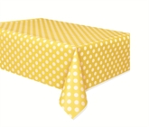 """Plastic Tablecover Sunflower Yellow Dots 54""""x 108"""""""