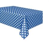 "Plastic Tablecover Royal Blue Dots 54""x 108"""