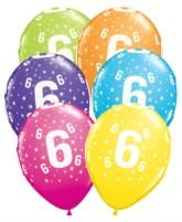 """Age 6 Stars Around Latex 11"""" Balloons 25pk"""