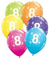 """Age 8 Stars Around Latex 11"""" Balloons 25pk"""