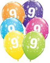 """Age 9 Star Around Assoreted Latex 11"""" Balloons 25pk"""