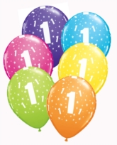 """Age 1 Assorted Colour Latex 11"""" Balloons 6pk"""