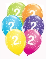 """Age 2 Assoted Colour 11"""" Star Latex Balloons 6pk"""
