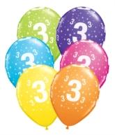 "Age 3 Latex 11"" Balloons 6pk"
