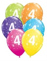 """Age 4 Stars Around Latex 11"""" Balloons 6pk"""