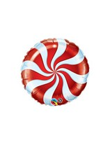 """Red Candy Swirl 9"""" Foil Balloon"""