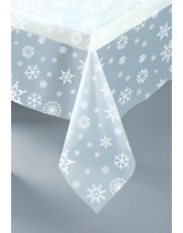 Clear Snowflakes Christmas Plastic Tablecover