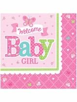 Welcome Baby Girl Luncheon Napkins 16pk