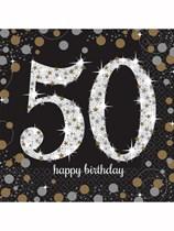 50th Birthday Gold Celebration Luncheon Napkins 16pk