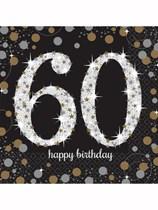 60th Birthday Gold Celebration Luncheon Napkins 16pk