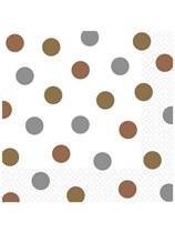 Mixed Metals Dots Luncheon Napkins 16pk