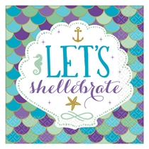 Mermaid Party Shellebrate Lunch Napkins 16pk