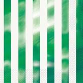 Green Foil Stripes Lunch Napkins 16pk