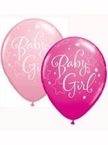 "Assorted Pink Baby Girl 11"" Latex Balloons 25pk"