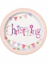 "Pink Christening 9"" Paper Plates 8pk"